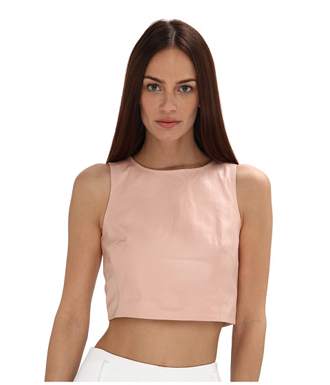 tibi - Leather Crop Top (Pale Blush) Women
