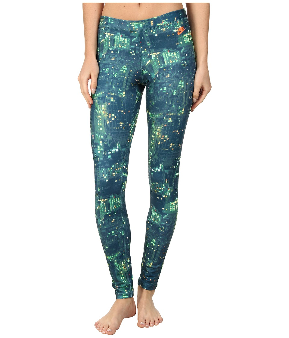 Nike - RU City Print Legging (Space Blue/Hyper Crimson) Women