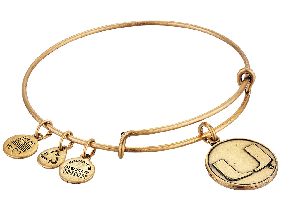 Alex and Ani - University of Miami Logo Charm Bangle (Rafaelian Gold Finish) Bracelet