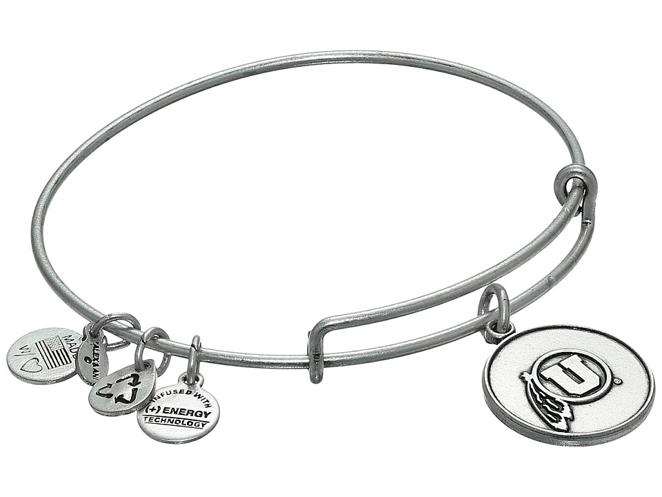 Alex and Ani - University of Utah Logo Charm Bangle (Rafaelian Silver Finish) Bracelet