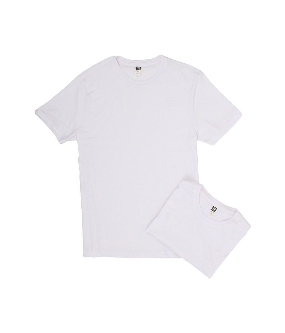 G-Star - Base Heather R S/S Tee 2-Pack (Solid White) Men's T Shirt