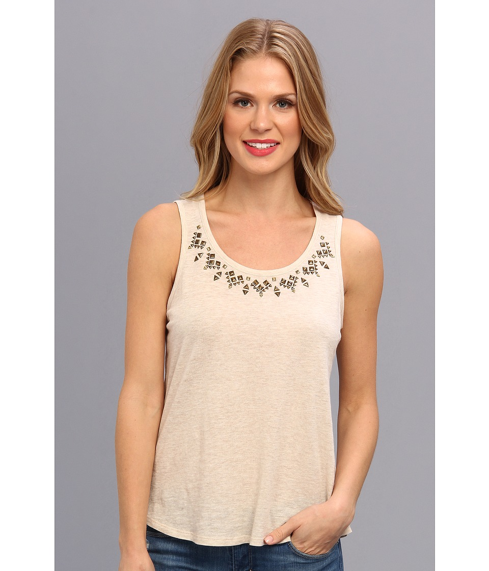 TWO by Vince Camuto - S/L Embellished Neckline Top (Oatmeal Heather) Women