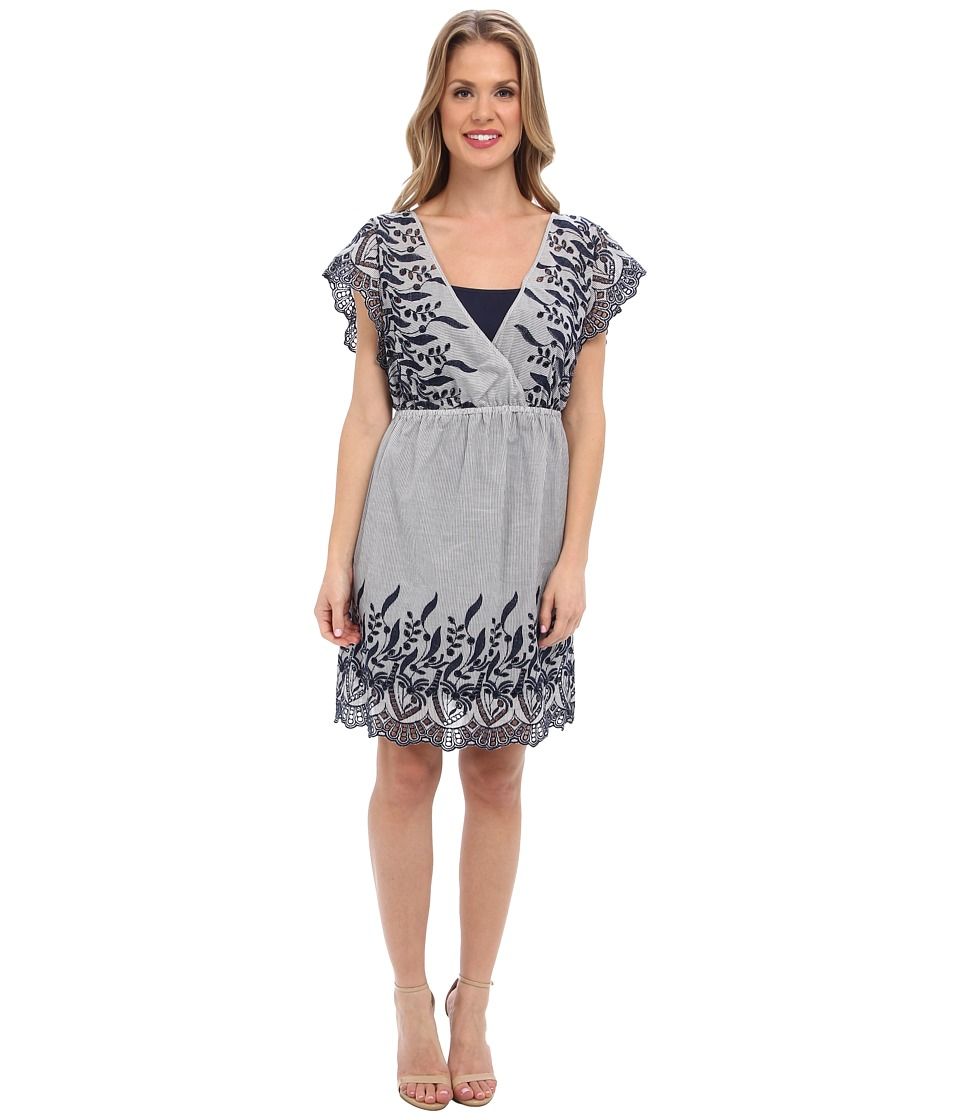 TWO by Vince Camuto - Cotton Striping Emb. Dress (Blue Night) Women's Dress