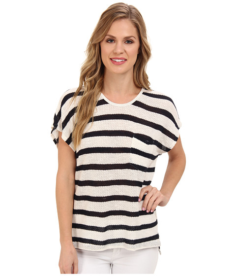 TWO by Vince Camuto - S/S Stripe Sweater w/ Lace Back (New Ivory) Women