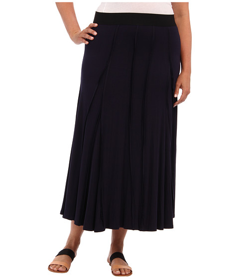 Karen Kane Plus - Plus Size Raw Edge Skirt (Navy) Women