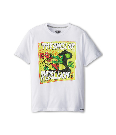 Volcom Kids - Ozzie Smell Of Rebellion Tee (Big Kids) (White) Boy's Short Sleeve Pullover