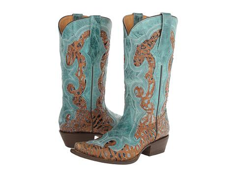 Durango - Ole' 66 12 Overlay (Tan Crackle/Aqua) Cowboy Boots