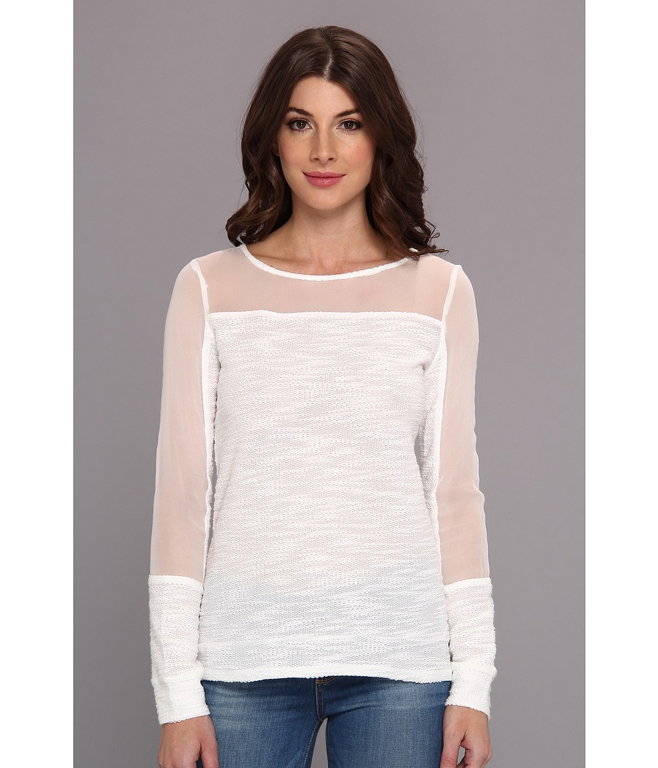 Aryn K - Mix Media Light Weight Sweater (White) Women's Sweater