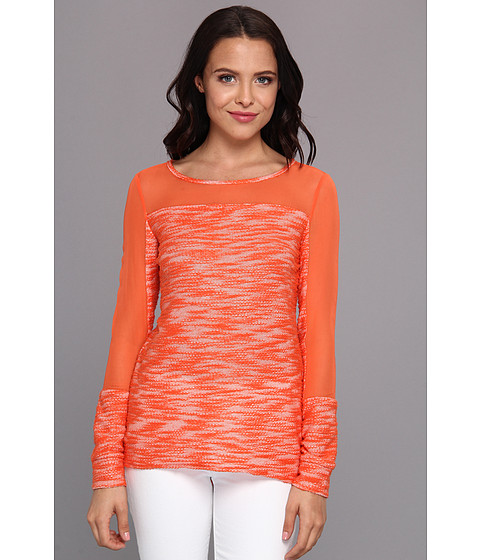 Aryn K - Mix Media Light Weight Sweater (Coral) Women's Sweater