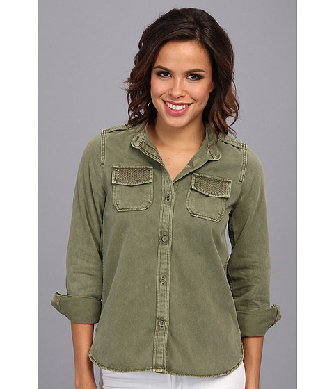 Lucky Brand - Embellished Shirt Jacket (Olivine) Women