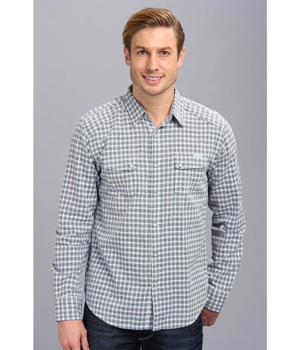 Lucky Brand Fremont Western Shirt Mens Long Sleeve Button Up (Blue)