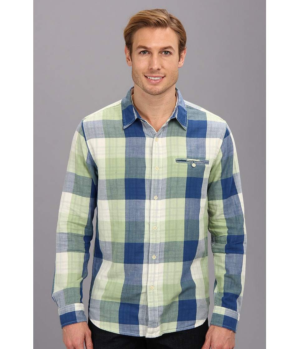 Lucky Brand - Bailey Shirt (Blue/Green) Men's Long Sleeve Button Up