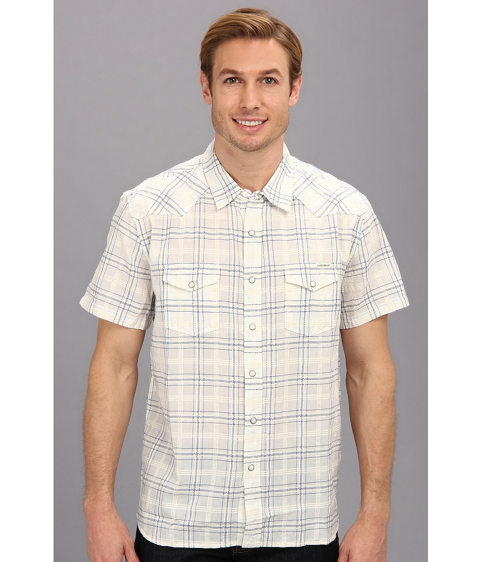 Lucky Brand - Summer Western Shirt (White/Blue) Men's T Shirt