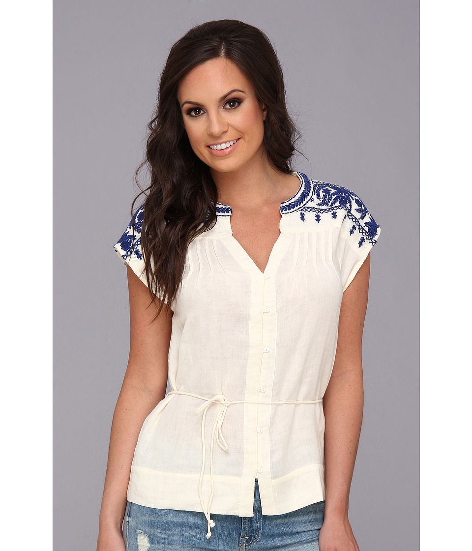 Lucky Brand Sori Embroidered Top Womens Blouse (Multi)