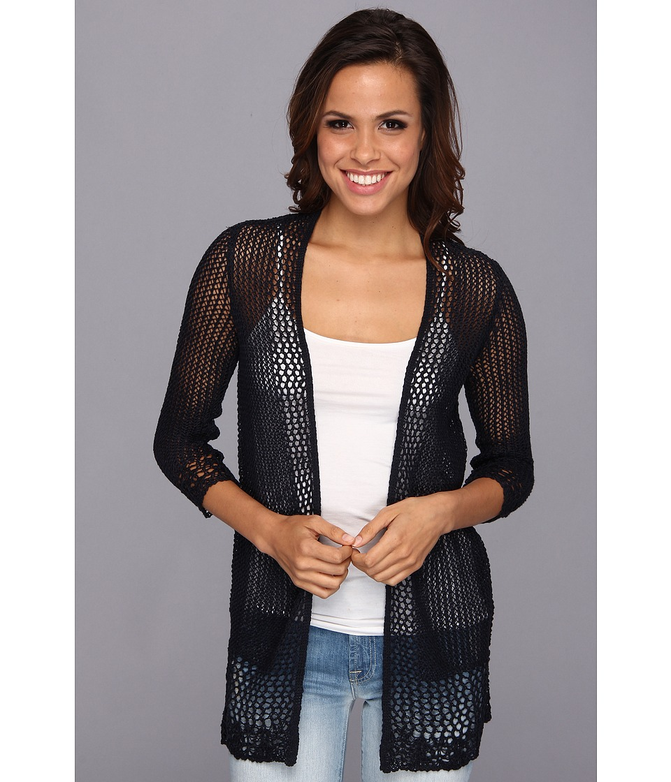 Lucky Brand - Linen Open Sweater (Sky Captain Navy) Women