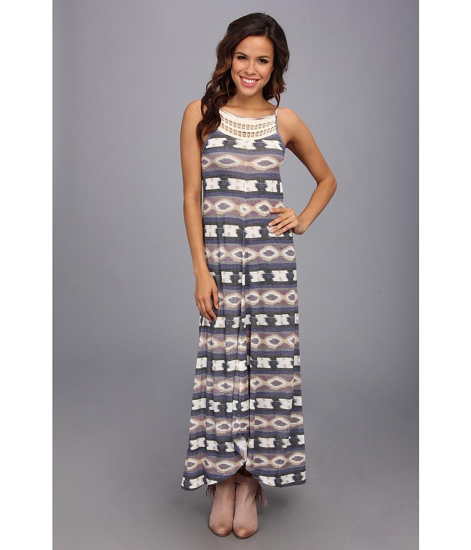 Lucky Brand Crochet Tribal Maxi Dress Womens Dress (Multi)