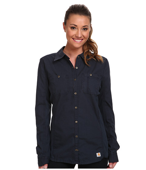 Carhartt - Minot Shirt (Navy) Women's Long Sleeve Button Up