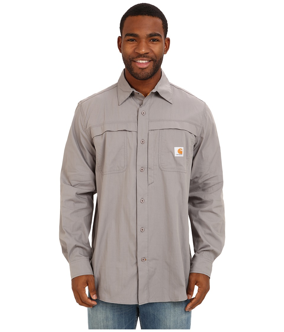 Carhartt - Force Mandan Solid L/S Shirt (Asphalt) Men's Long Sleeve Button Up