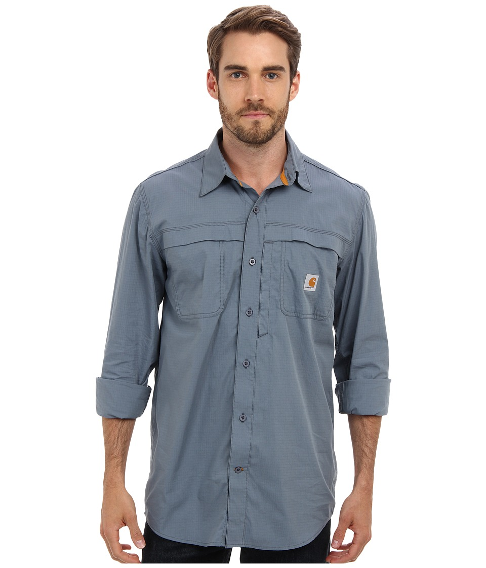 Carhartt - Force Mandan Solid L/S Shirt (Steel Blue) Men's Long Sleeve Button Up