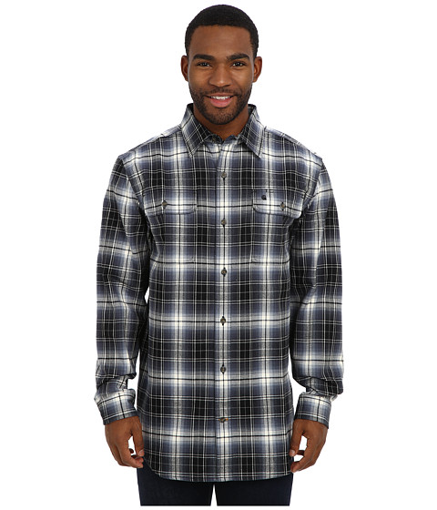 Carhartt - Hubbard Plaid Shirt (Deep Blue) Men's Long Sleeve Button Up
