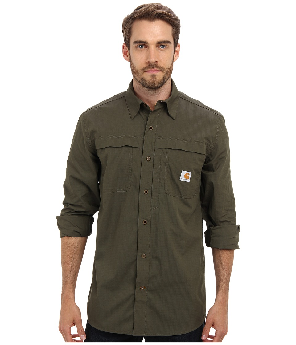 Carhartt - Force Mandan Solid L/S Shirt (Moss) Men's Long Sleeve Button Up