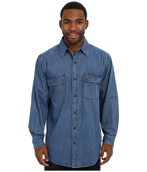 Carhartt - Washed Denim Work Shirt (Rinsed Light Blue) Men's Long Sleeve Button Up