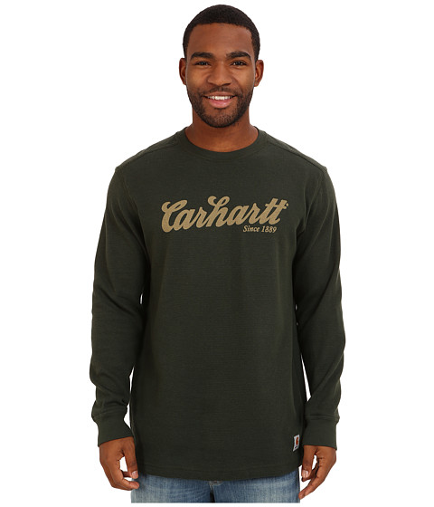 Carhartt - Textured Knit Script Graphic Crewneck (Dark Green) Men