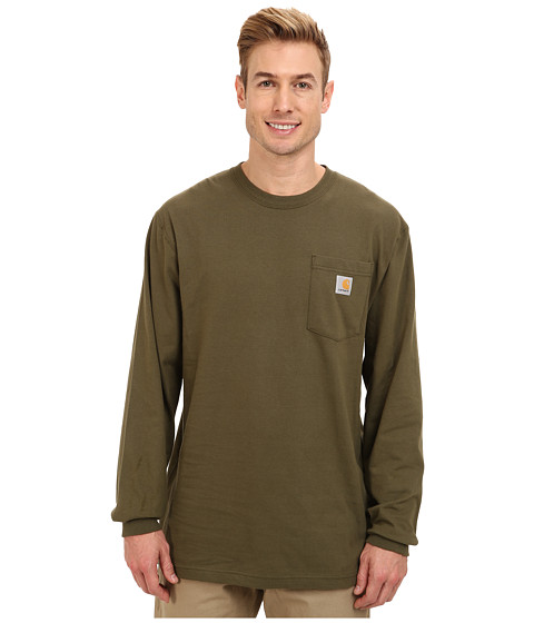 Carhartt - Workwear Pocket L/S Tee (Army Green) Men's Long Sleeve Pullover