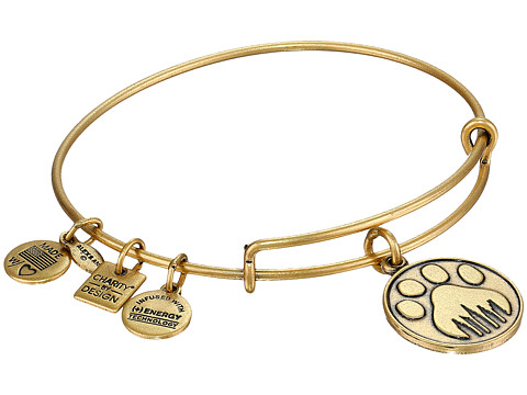 Alex and Ani - Paw Prints Charm Bangle (Rafaelian Gold Finish) Bracelet