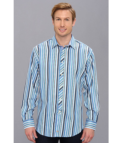Thomas Dean & Co. - Blue Satin Stripe Point Collar Button Down L/S Sport Shirt (Blue) Men's Clothing