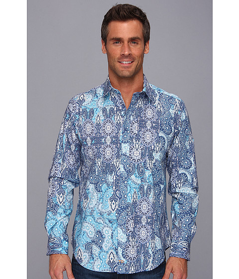 Thomas Dean & Co. - Blue Print Tailored Fit L/S Sport Shirt (Blue) Men