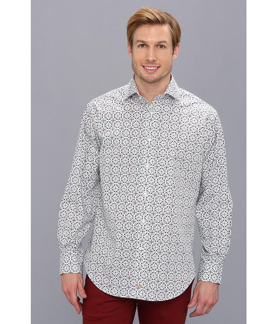 Thomas Dean & Co. - Aqua Geo Print Poplin Button Down L/S Sport Shirt (Aqua) Men's Clothing