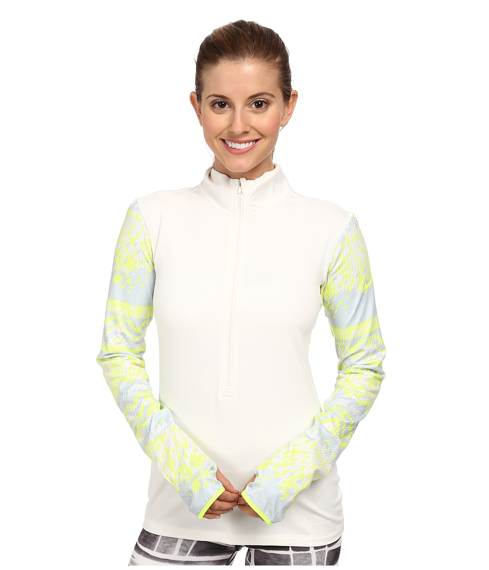 Nike - Pro Hyperwarm Nordic Half-Zip Top (Ivory/Volt/Volt) Women's Long Sleeve Pullover