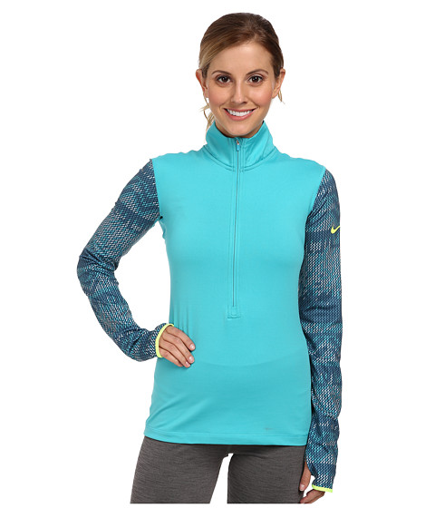Nike - Pro Hyperwarm Nordic Half-Zip Top (Dusty Cactus/Space Blue/Volt) Women's Long Sleeve Pullover