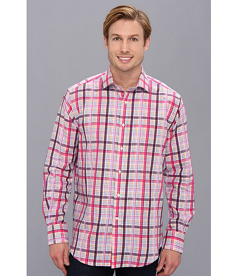 Thomas Dean & Co. - Purple Satin Plaid Tailored Fit L/S Sport Shirt (Purple) Men's Clothing