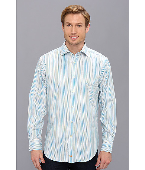 Thomas Dean & Co. - Aqua Satin Stripe Multi Stripe Button Down L/S Sport Shirt (Aqua) Men