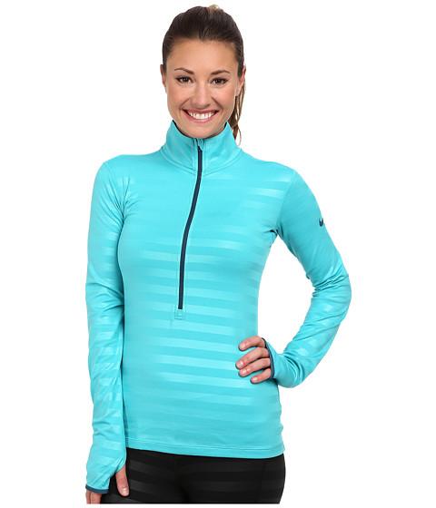 Nike - Pro Hypewarm Embossed Half-Zip (Dusty Cactus/Space Blue) Women