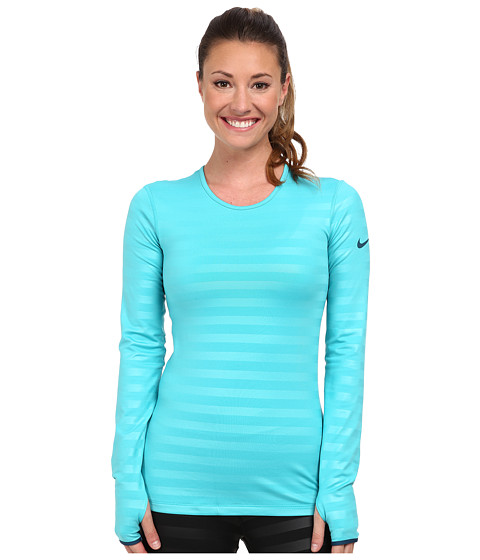 Nike - Pro Hyperwarm Embossed Crew (Dusty Cactus/Space Blue/Space Blue) Women's Long Sleeve Pullover