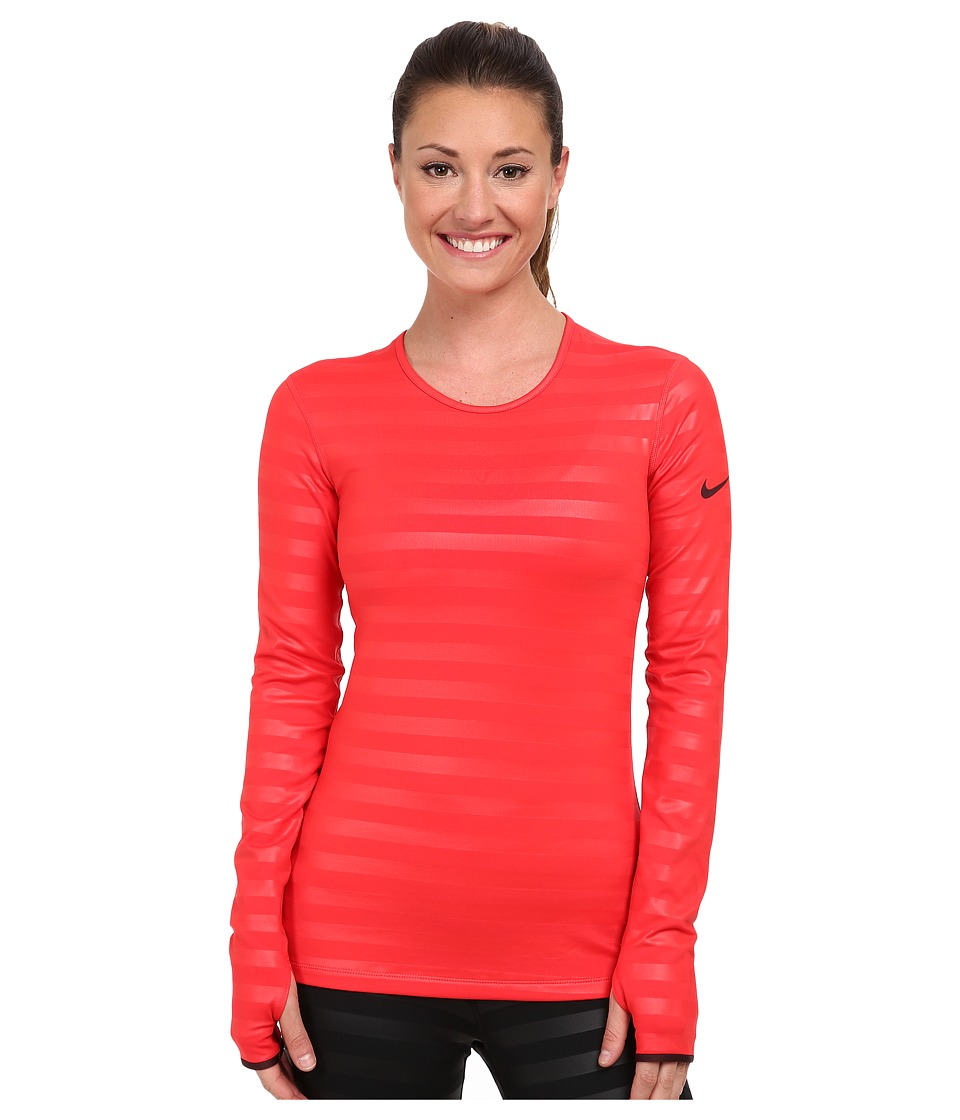 Nike - Pro Hyperwarm Embossed Crew (Action Red/Deep Burgundy/Deep Burgundy) Women