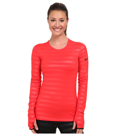Nike - Pro Hyperwarm Embossed Crew (Action Red/Deep Burgundy/Deep Burgundy) Women's Long Sleeve Pullover