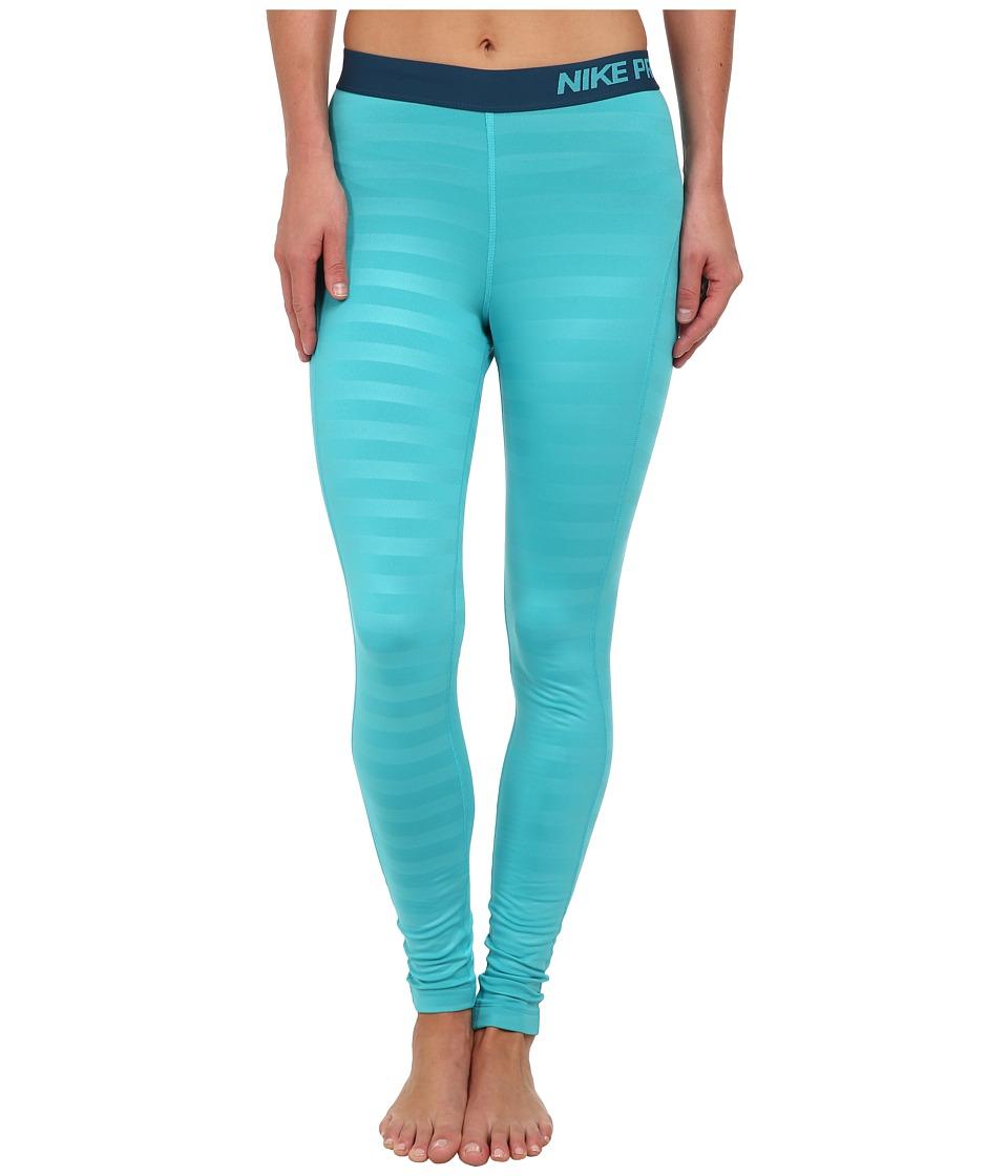 Nike - Pro Hyperwarm Embossed Tight (Dusty Cactus/Space Blue) Women