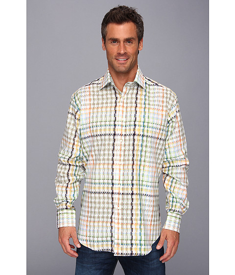 Thomas Dean & Co. - Orange Satin Plaid Button Down L/S Sport Shirt (Orange) Men's Clothing