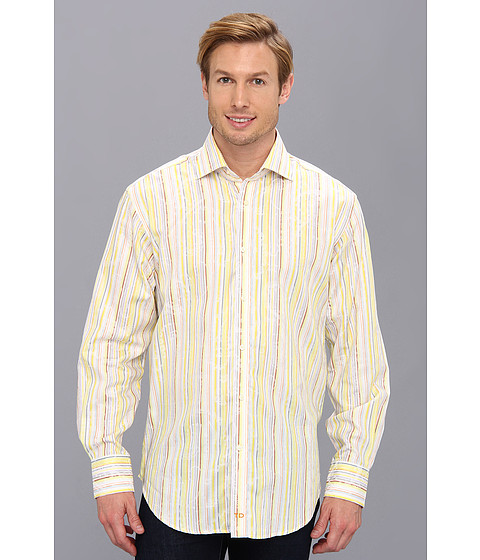 Thomas Dean & Co. - Lemon Satin Stripe w/ Paisley Detail Button Down L/S Sport Shirt (Lemon) Men's Clothing