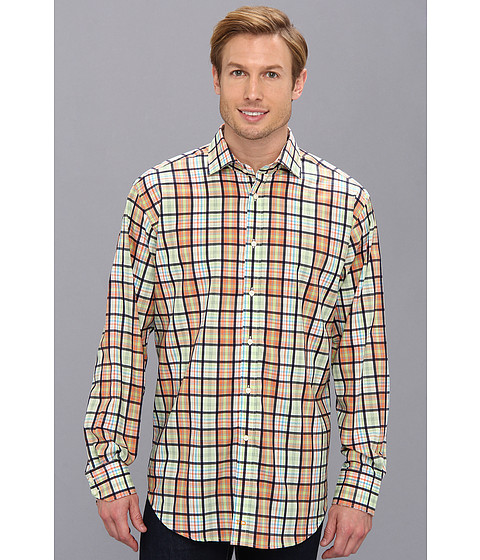 Thomas Dean & Co. - Orange Poplin Plaid Button Down L/S Sport Shirt (Orange) Men