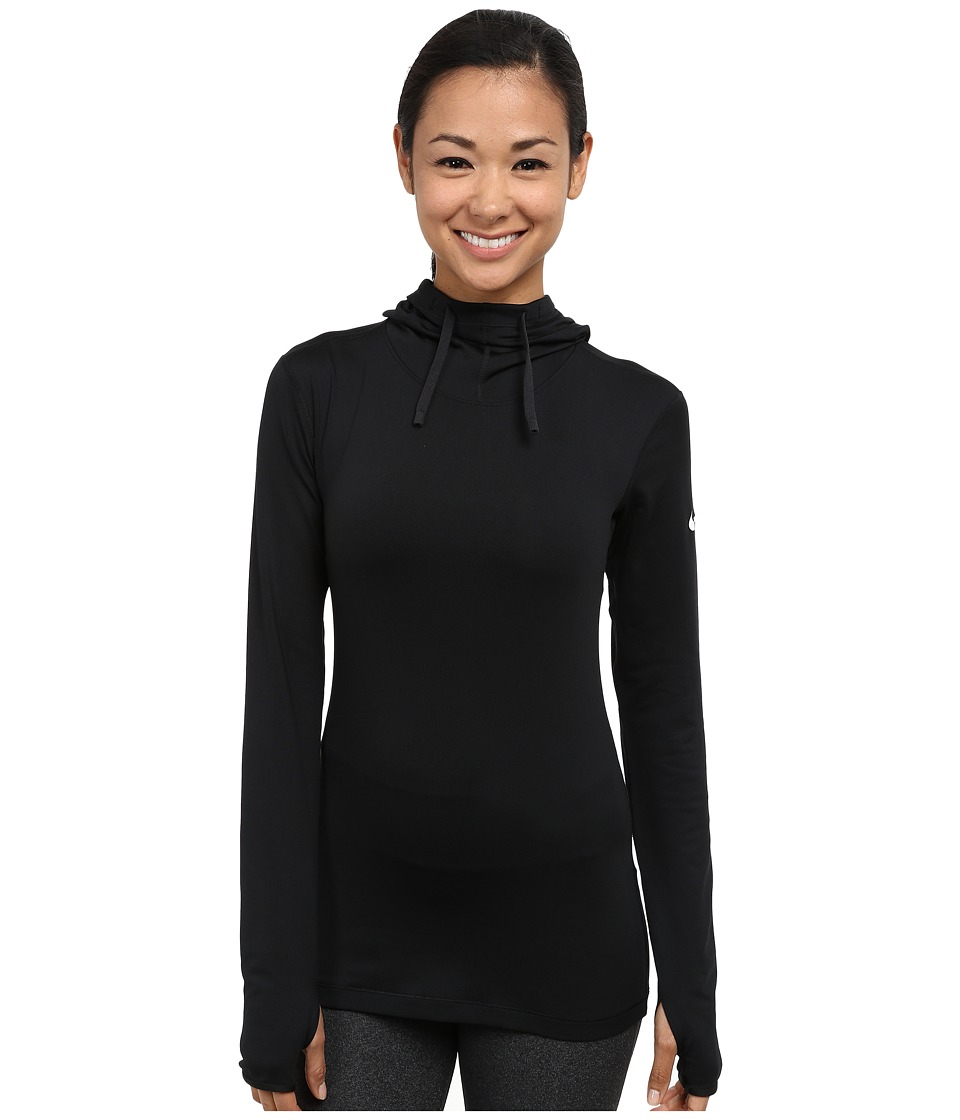 Nike - Pro Hyperwarm Hoodie (Black/White) Women's Long Sleeve Pullover