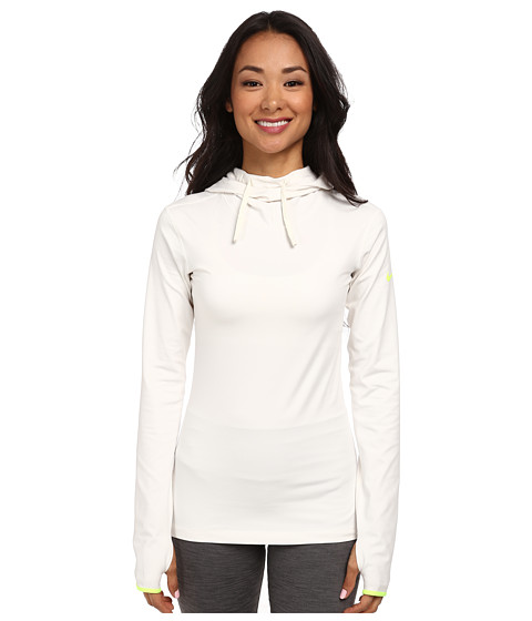 Nike - Pro Hyperwarm Hoodie (Ivory/Volt) Women's Long Sleeve Pullover