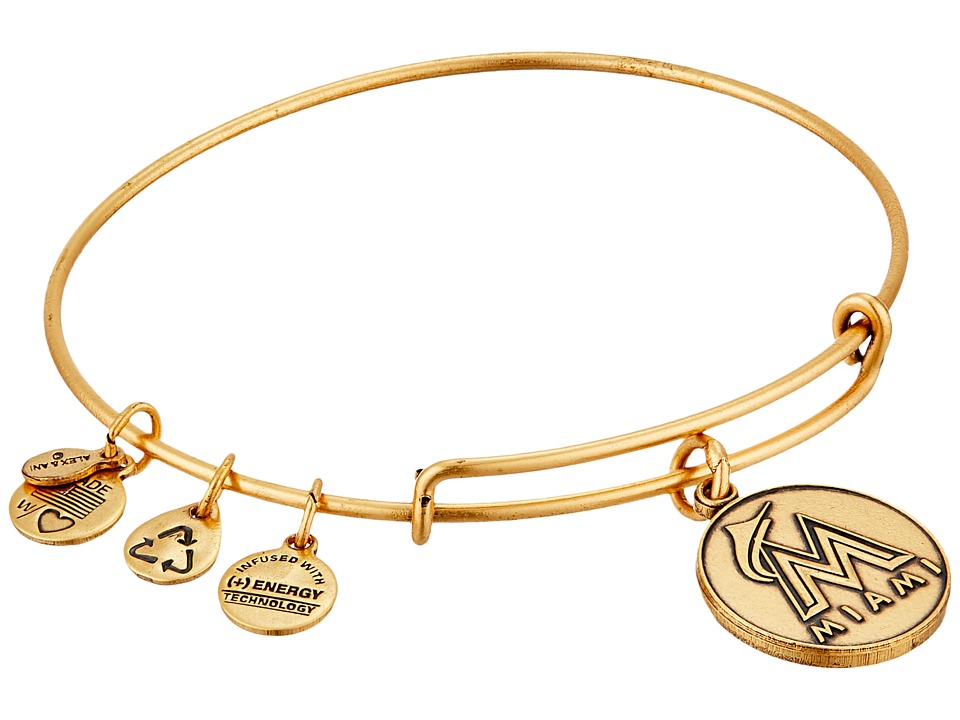 Alex and Ani - MLB Miami Marlins Charm Bangle (Rafaelian Gold Finish) Bracelet