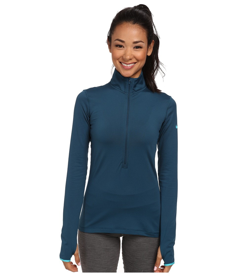 Nike - Pro Hyperwarm 1/2 Zip 3.0 (Space Blue/Dusty Cactus/Dusty Cactus) Women