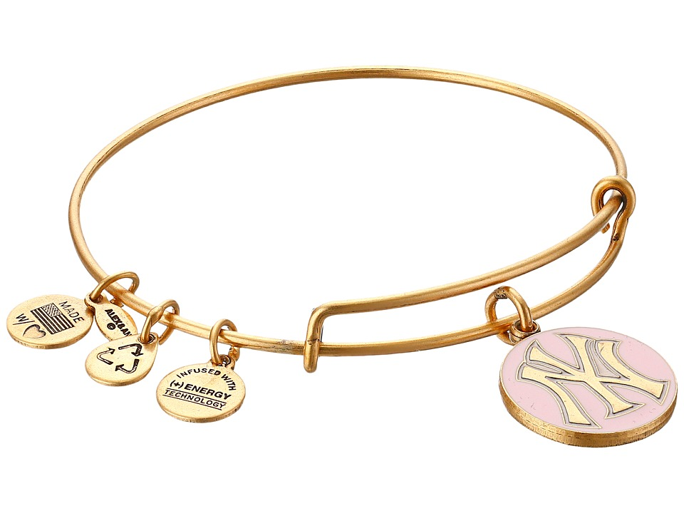Alex and Ani - MLB New York Yankees Charm Bangle (Rafaelian Gold Finish/Pink Charm) Bracelet