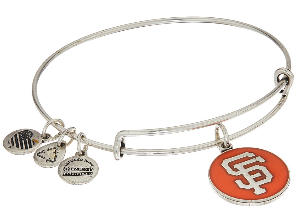 Alex and Ani - MLB San Francisco Giants Charm Bangle (Rafaelian Silver Finish/Orange Charm) Bracelet